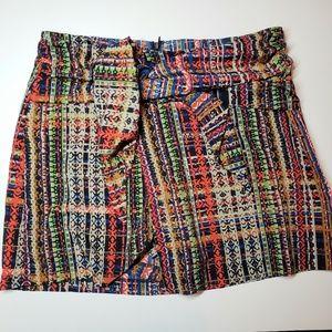 CAbi sarong skort, shorts multicolored tie waist 6